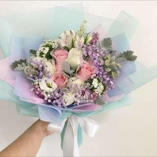 Unicorn Bouquet of Turquoise Pink White Roses