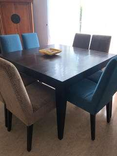 Beautiful Solid Dark Wood Dining Table (Sits 8)