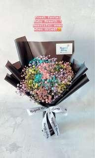 Rainbow Baby Breath Bouquet