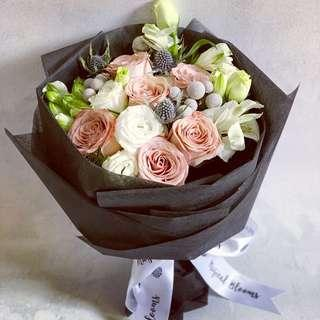 Premium Cappucino Rose with Mix Alstromeria Winter Berries and fillers / Valentine's Day Bouquet