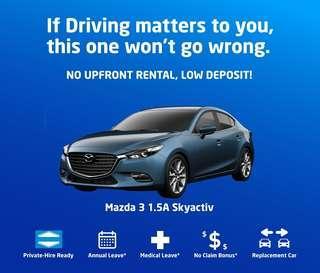 Mazda 3 SkyActiv 1.5 - Car Rental for Private Hire/Grab