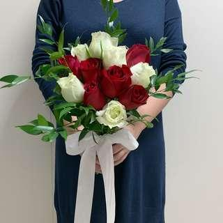 Red Rose White Rose with Ruscus Leaves ROM Bouquet
