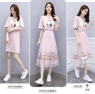 2 way wear - Long top lace mesh skirt