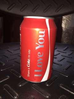 I LOVE YOU Coca Cola can