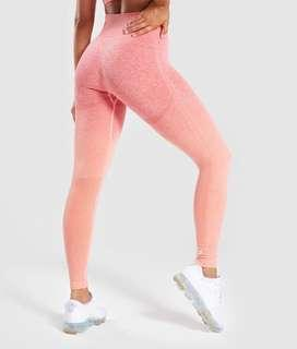 Small Gymshark Seamless Ombre Leggings - Peach Coral