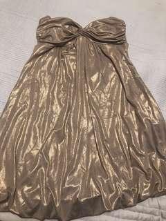 Gold forever 21 strapless dress