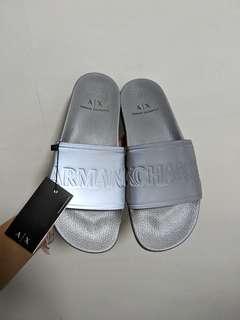 🚚 Armani Exchange Glossy silver Slip ons