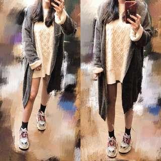 🚚 近全新韓版英倫灰簡約中長款毛衣毛料衫開襟連帽口袋外套