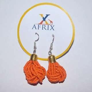 Orange Ball Beaded Earrings