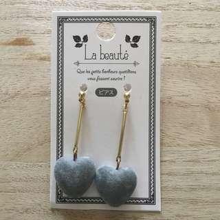 Gray Heart Fancy Earrings