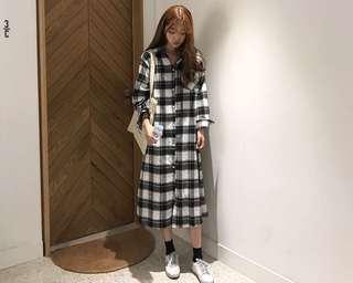 🚚 (全新免運)韓版慵懶修身黑白格紋長版連衣裙長版襯衫裙
