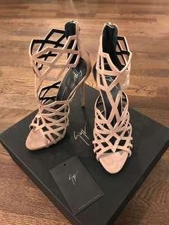 Giuseppe Zanotti Raquel Nude Suede Heeled Sandal - Size 39/8.5