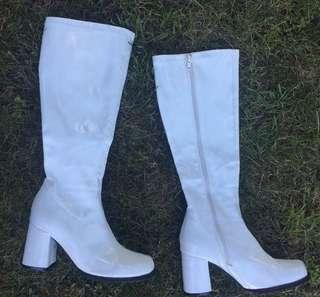 White Go Go Girl Boots 🌈