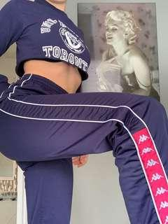 Kappa blue and pinkish/red track pants