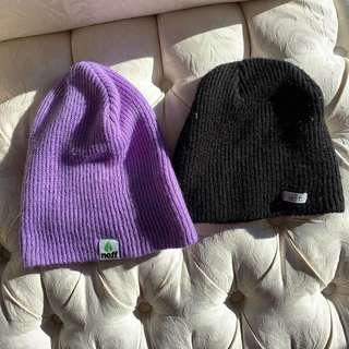NEFF black and purple beanies
