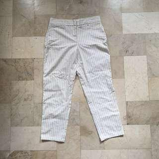 White pinstripe trousers