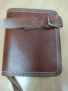Rough cut thick leather unisex wallet with coin pouch