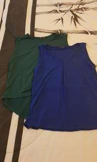Blue and Green Sleveless Top