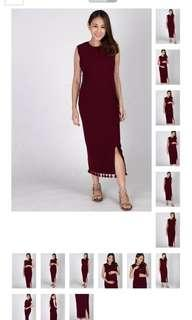 JEC drop tasseled midi dress in size L
