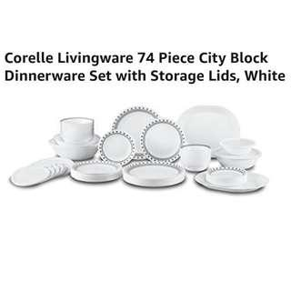 Promo🎈 Corelle Livingware 74 Piece City Block Dinnerware Set with Storage Lids, White