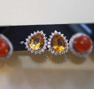 925銀 黃晶水滴耳環