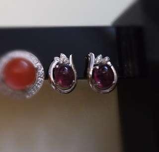 925銀 碧璽中型耳環