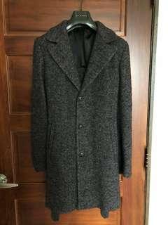 Sisley九成新深灰毛呢大衣