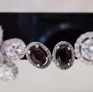 925銀 石榴石耳環