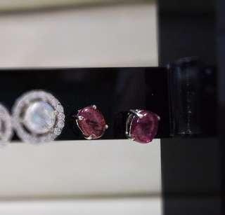925銀 碧璽小型耳環