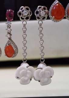 925銀 白瓷耳環