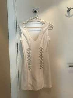 NEW WITH TAGS C/MEO COLLECTIVE WHITE DRESS METAL HARDWARE