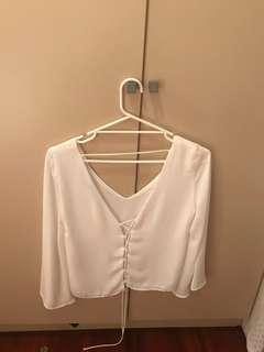 Zara White Size 8/S Peasant Blouse with Lace Up Back