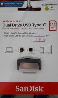 Brand new SanDisk Dual Drive Type C 128Gb selling at $56.90
