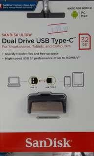 Brand new SanDisk Dual Drive Type C 32Gb selling at $18.90