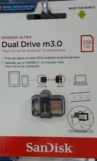 Brand new SanDisk Dual Drive m3.0 256Gb selling at $76