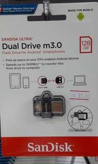 Brand new SanDisk Dual Drive m3.0 128Gb selling at $37