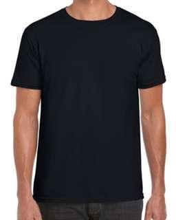 BN🎁Gildan 76000 Premium Ring Spun Cotton Tee Tshirt 180gm Black Colour Men Unisex Size S