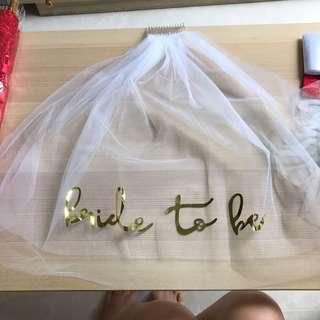 Wedding Hen's Night Bride To Be White Sliver Veil