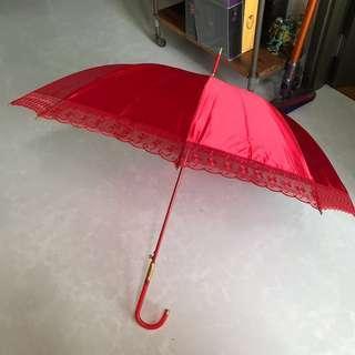 Wedding Red + Gold Umbrella