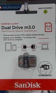 Brand new SanDisk Dual Drive m3.0 64Gb selling at $18.90