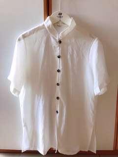 日本白色雪紡上衣
