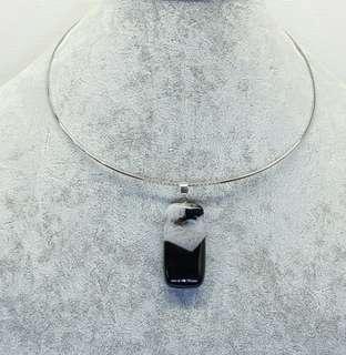 Torque Choker Necklace with Black Geode Agate Pendant