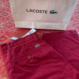 BNWT LACOSTE AUTH CHINO PANTS RED MAROON
