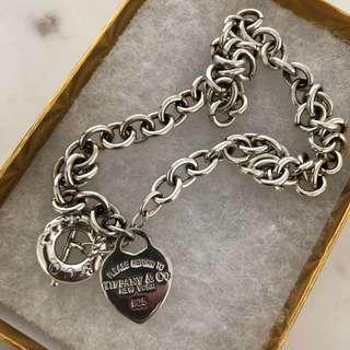 Silver Heart Tag Toggle Necklace