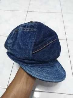 Denim patchwork cap