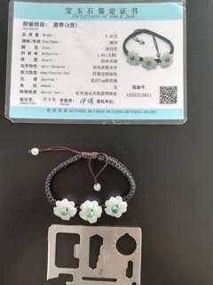 S> certified white flower jade bracelet with green buds