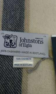 🚚 JOHNSTON'S黑白經典格紋CASHMERE圍巾