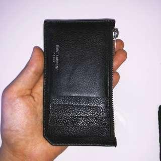 SAINT LAURENT YSL CARD HOLDER WALLET - Black grained calfskin