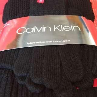 😍情人節禮物😍Calvin Klein 女裝頸巾&冷帽&手襪套裝 CK women's scarf hat & glove set 黑色 Black