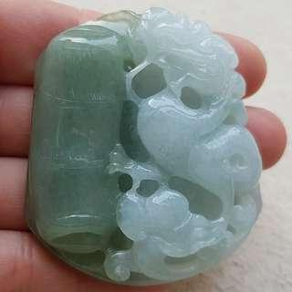 Certified Type A Icy Jadeite Pendant Ice Duo-Color Oily Green Jade Ruyi Bamboo Dragon 如意 祝子成龙